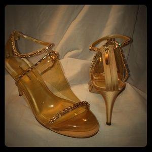 Tan satin and rhinestone heels by Valerie Stevens